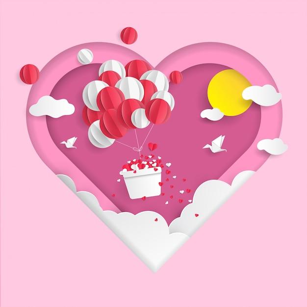 Fundo de dia dos namorados de balões de ar Vetor Premium