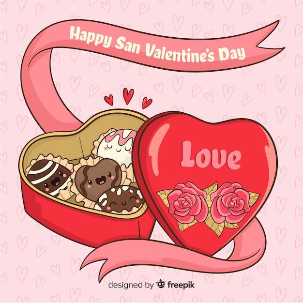 Fundo de dia dos namorados de caixa de chocolate Vetor grátis