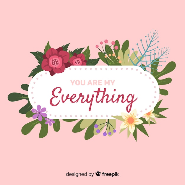 Fundo de dia dos namorados floral citação Vetor grátis