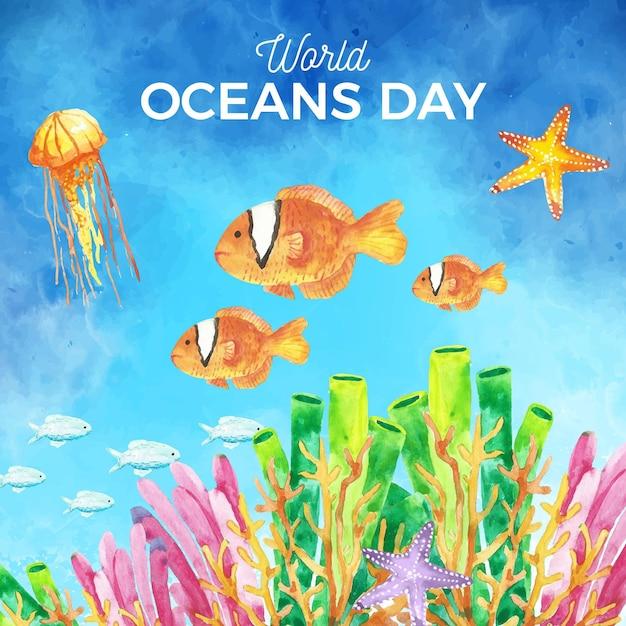 Fundo de dia dos oceanos mundo aquarela Vetor grátis