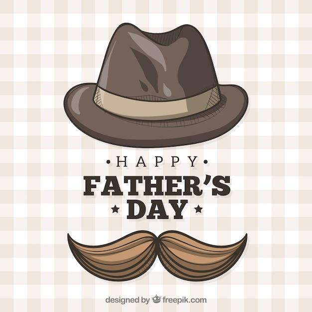 Fundo de dia dos pais com chapéu e bigode Vetor grátis