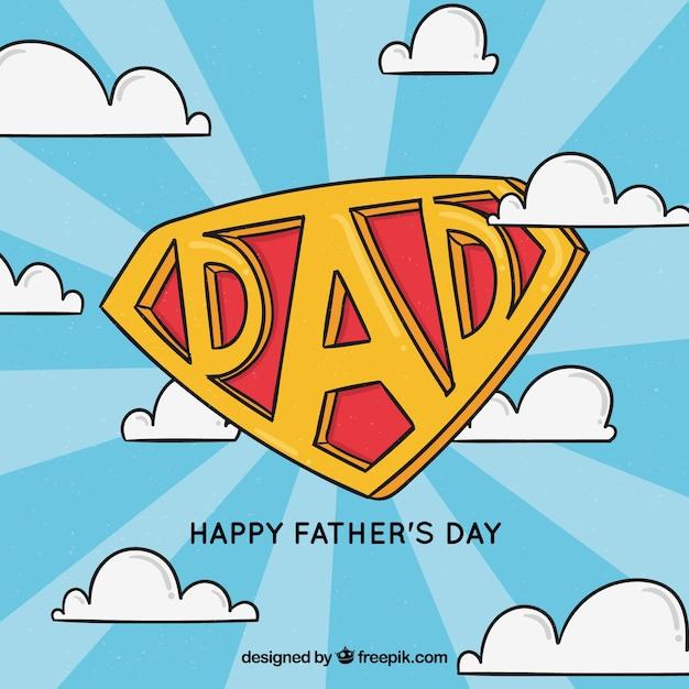 Fundo de dia dos pais com insígnia de super pai Vetor grátis