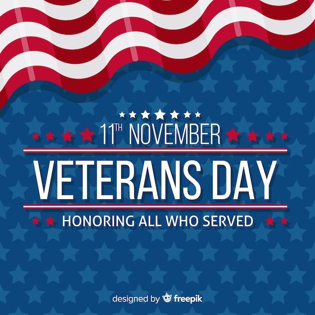 Fundo de dia dos veteranos conosco elementos de bandeira Vetor grátis