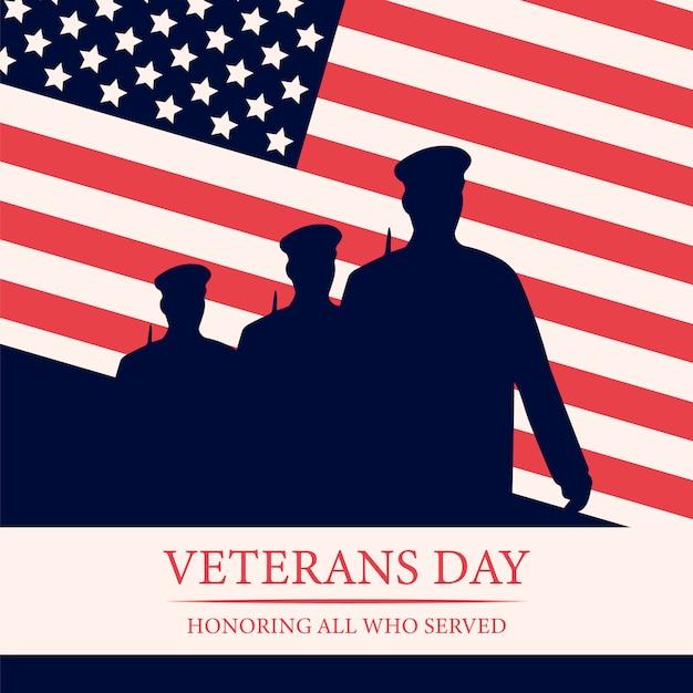 Fundo de dia dos veteranos de evento nacional americano. Vetor Premium