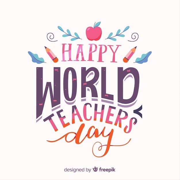 Fundo de dia feliz do professor mundial com letras Vetor grátis