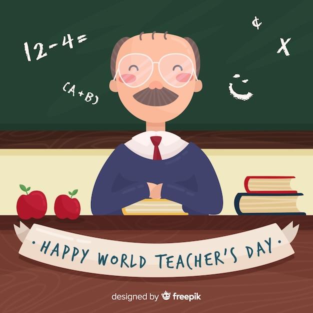 Fundo de dia feliz do professor mundial com professor e quadro-negro Vetor grátis