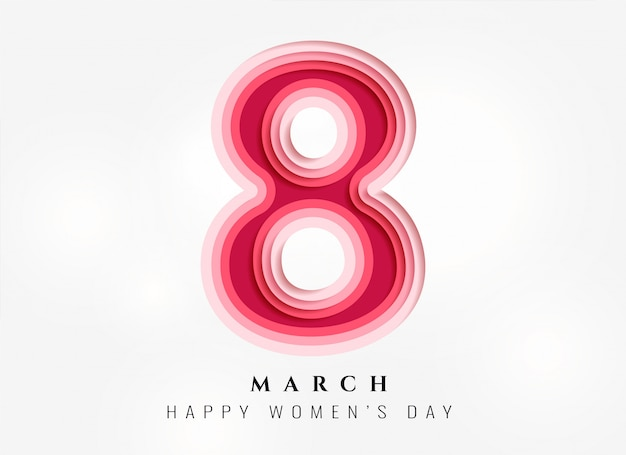 Fundo de dia feliz feminino em estilo papercut Vetor grátis