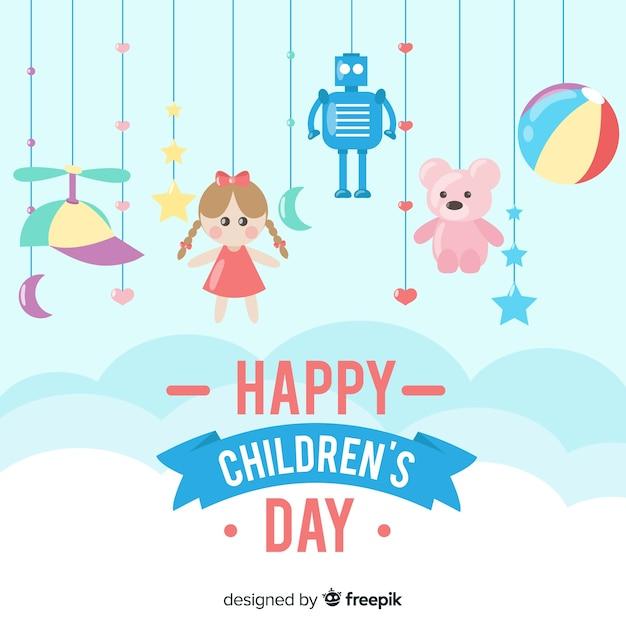 Fundo de dia feliz infantil com brinquedos Vetor grátis