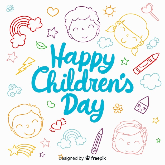 Fundo de dia feliz infantil com letras Vetor grátis