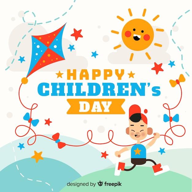 Fundo de dia feliz infantil em design plano Vetor grátis