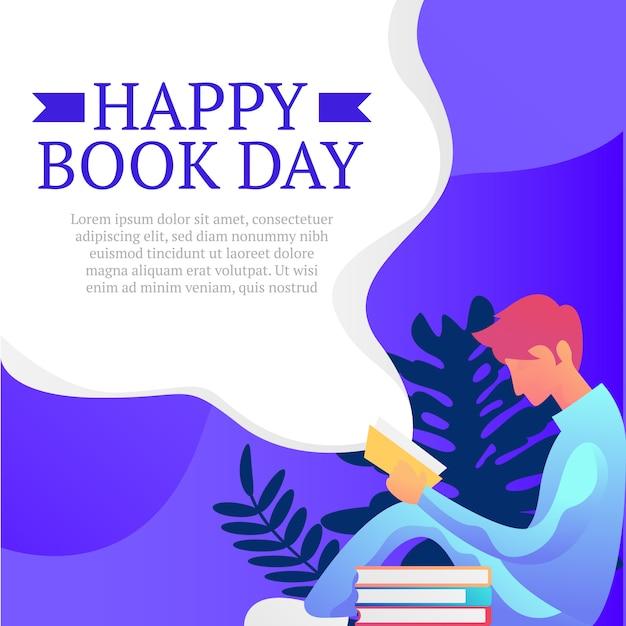 Fundo de dia feliz livro com homem sit ler ilustração Vetor Premium