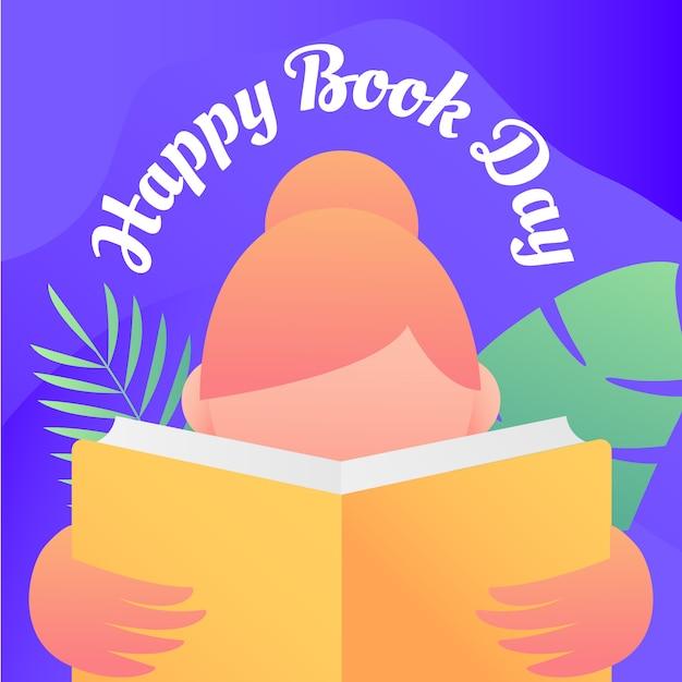 Fundo de dia feliz livro com mulher ler ilustração Vetor Premium