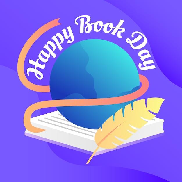 Fundo de dia feliz livro Vetor Premium