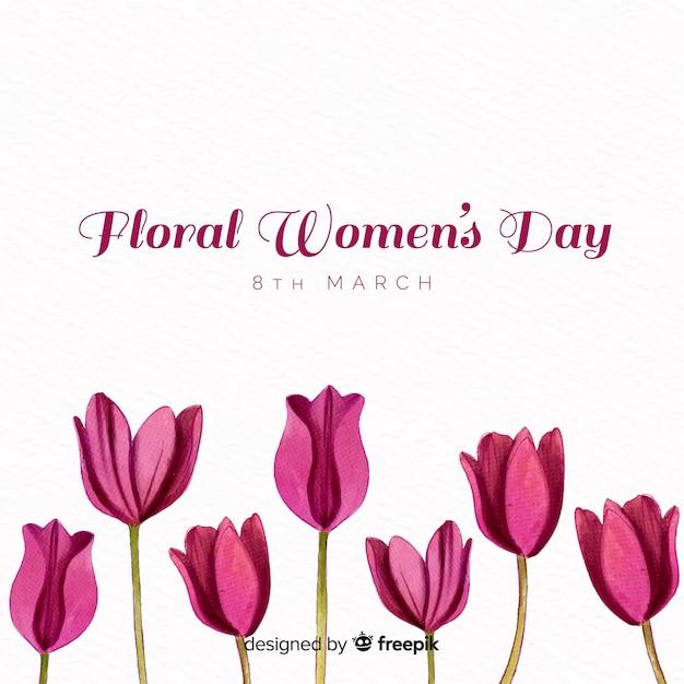 Fundo de dia floral feminino Vetor grátis