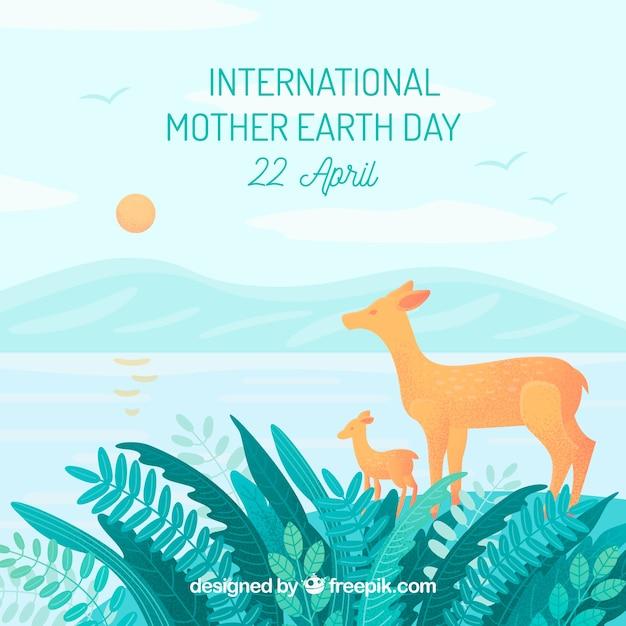 Fundo de dia internacional da mãe terra com veados na floresta Vetor grátis