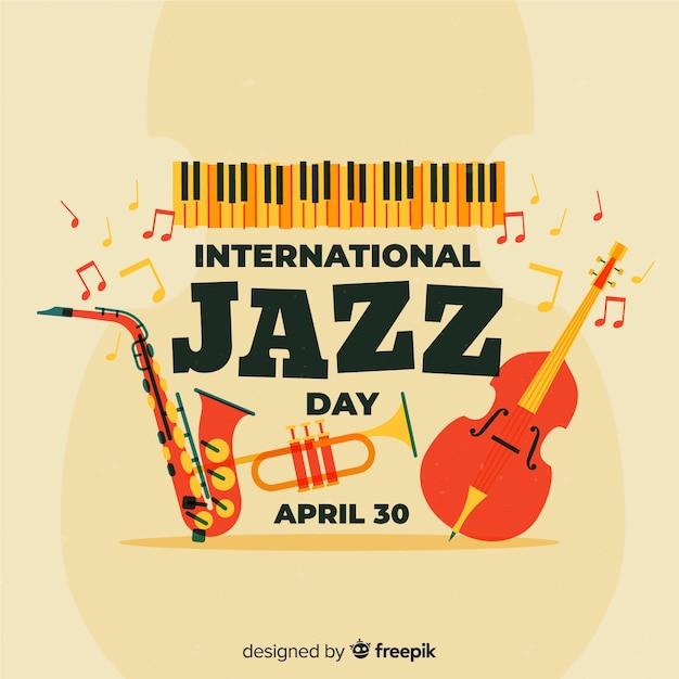 Fundo de dia internacional de jazz vintage Vetor grátis