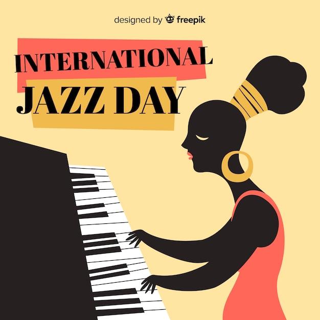 Fundo de dia internacional jazz mão desenhada Vetor grátis