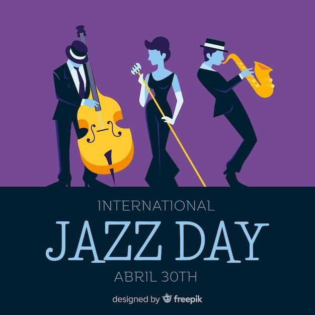 Fundo de dia internacional jazz plana Vetor grátis
