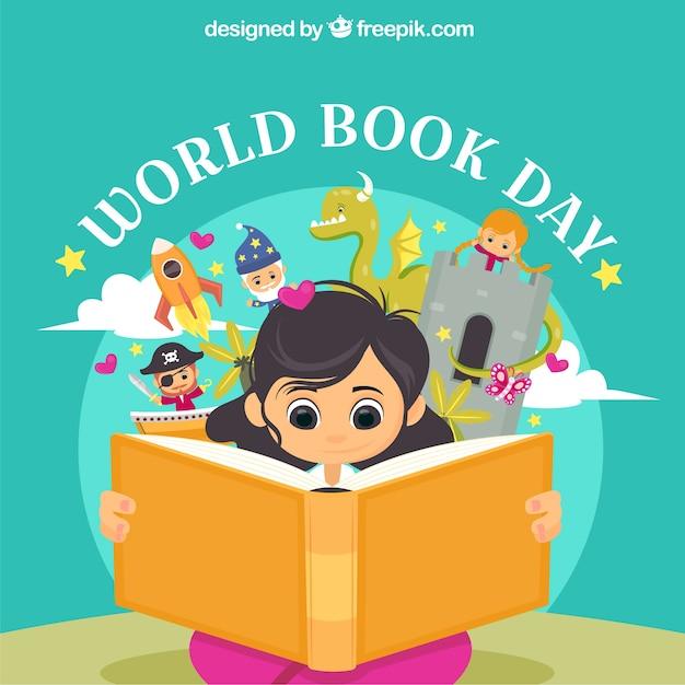 Fundo de dia livro do mundo com menina lendo Vetor grátis