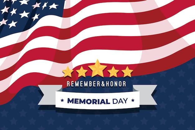 Fundo de dia memorial design plano com bandeira e estrelas dos eua Vetor grátis