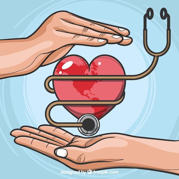 Fundo de dia mundial da saúde com estetoscópio Vetor grátis