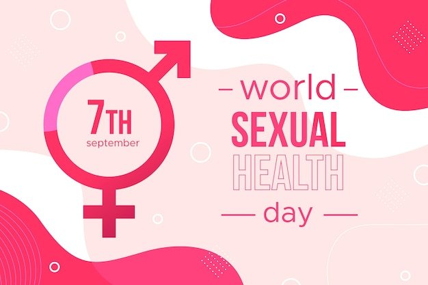 Fundo de dia mundial da saúde sexual com sinais de gênero Vetor grátis