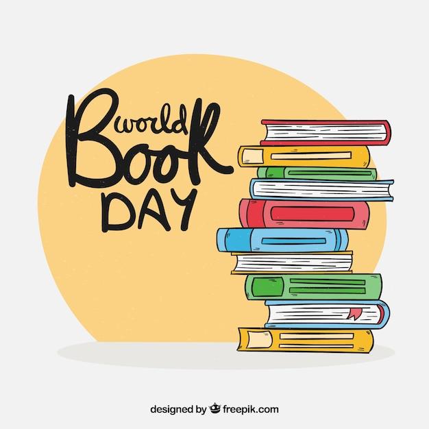 Fundo de dia mundial do livro na mão desenhada estilo