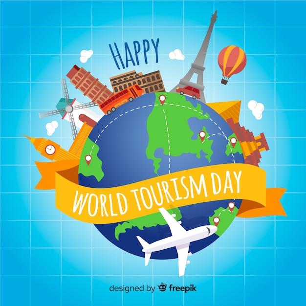 Fundo de dia mundial do turismo com marcos e transporte Vetor grátis