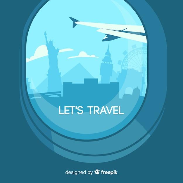 Fundo de dia mundial do turismo com vista do avião Vetor grátis