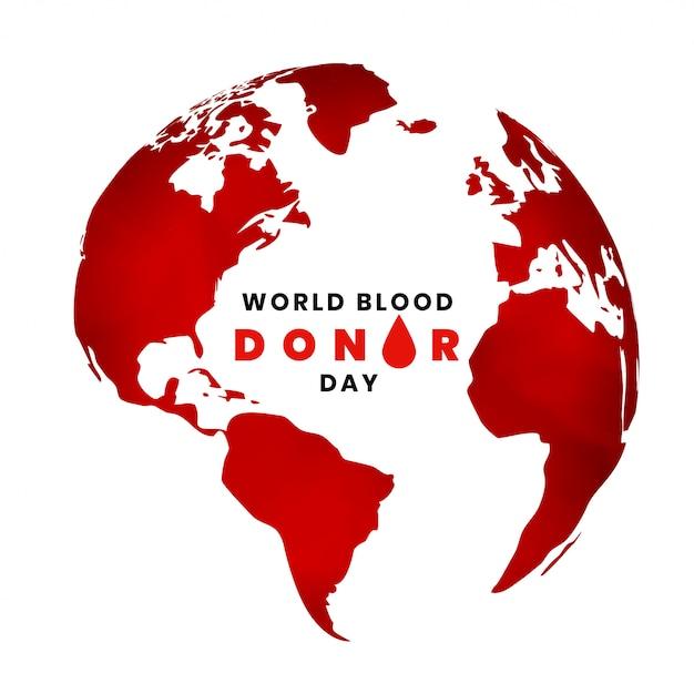 Fundo de dia mundial doador de sangue com mapa da terra Vetor grátis