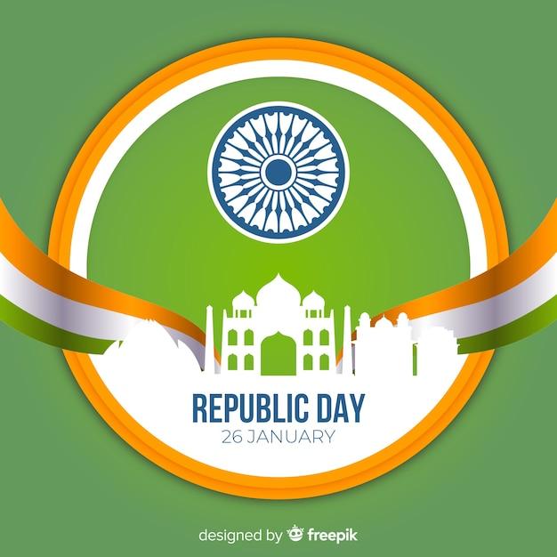 Fundo de dia plano república indiano Vetor grátis