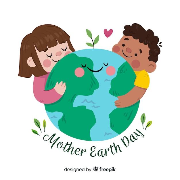 Fundo de dia plano terra mãe Vetor grátis