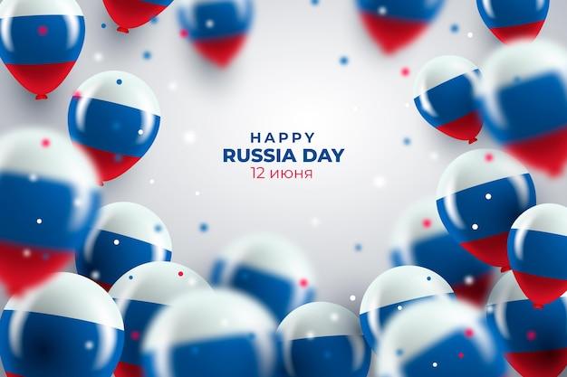 Fundo de dia realista da rússia com balões Vetor Premium