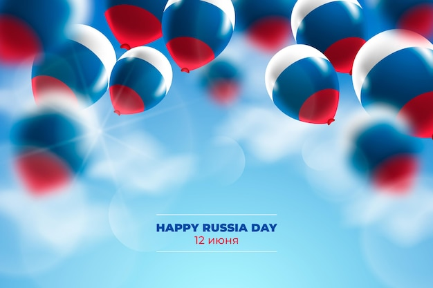 Fundo de dia realista da rússia com balões Vetor grátis