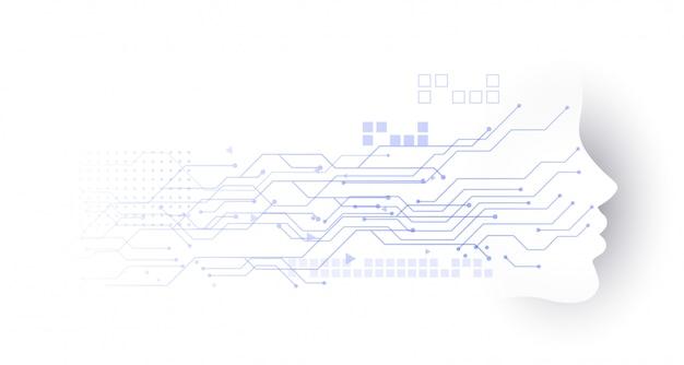 Fundo de diagrama de circuito de rosto de tecnologia Vetor grátis