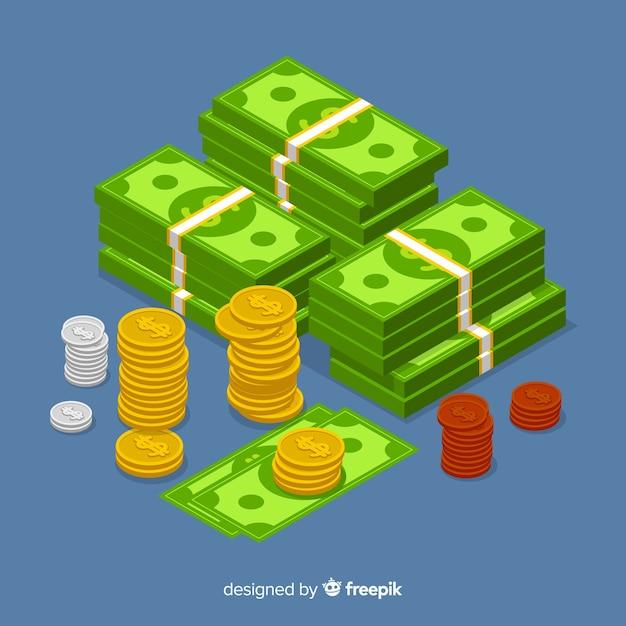 Fundo de dinheiro isométrica Vetor grátis