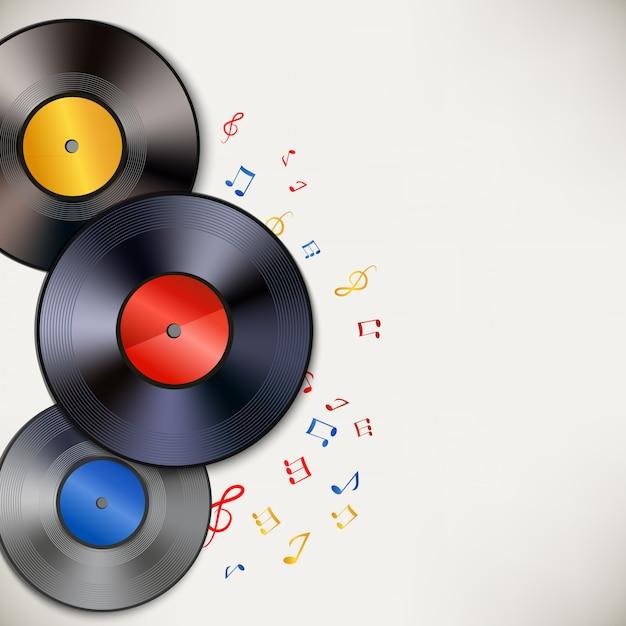 Fundo de discos de vinil com copyspace Vetor grátis