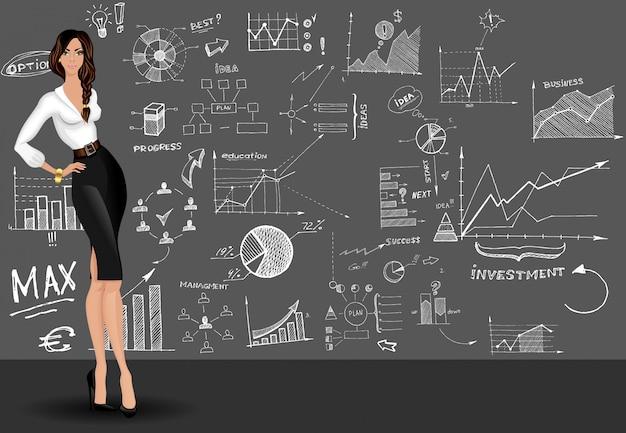 Fundo de doodle de mulher de negócios Vetor grátis