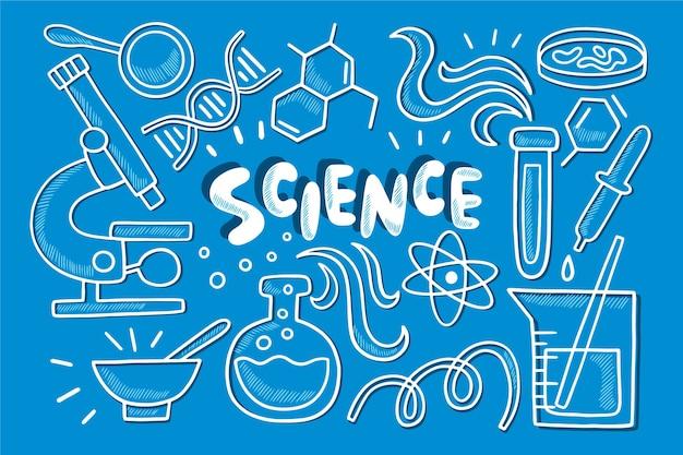 Fundo de educação científica de mão desenhada Vetor grátis