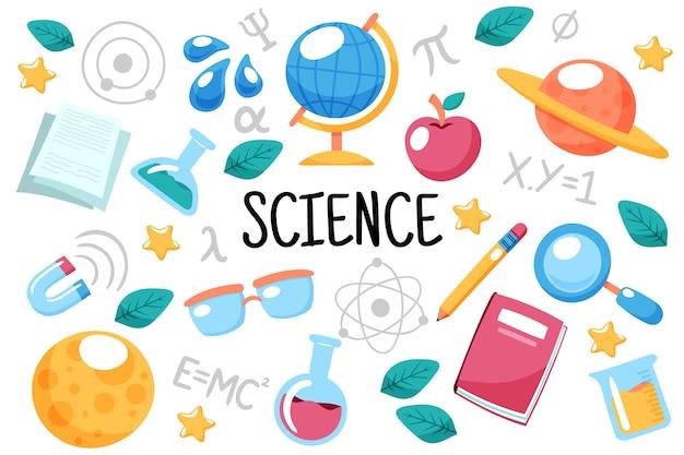 Fundo de educação científica de mão desenhada Vetor Premium