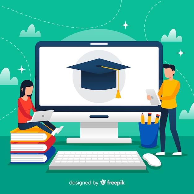 Fundo de educação on-line Vetor grátis