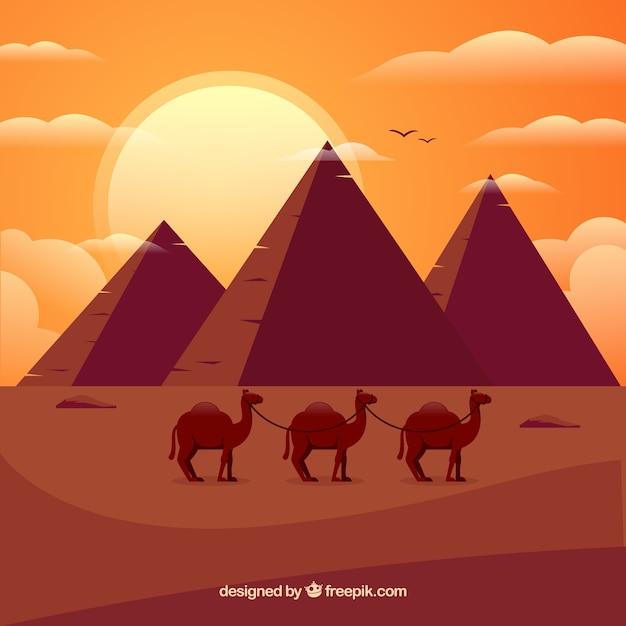 Fundo, de, egito, pirâmides, paisagem, com, caravana, de, camelos Vetor grátis
