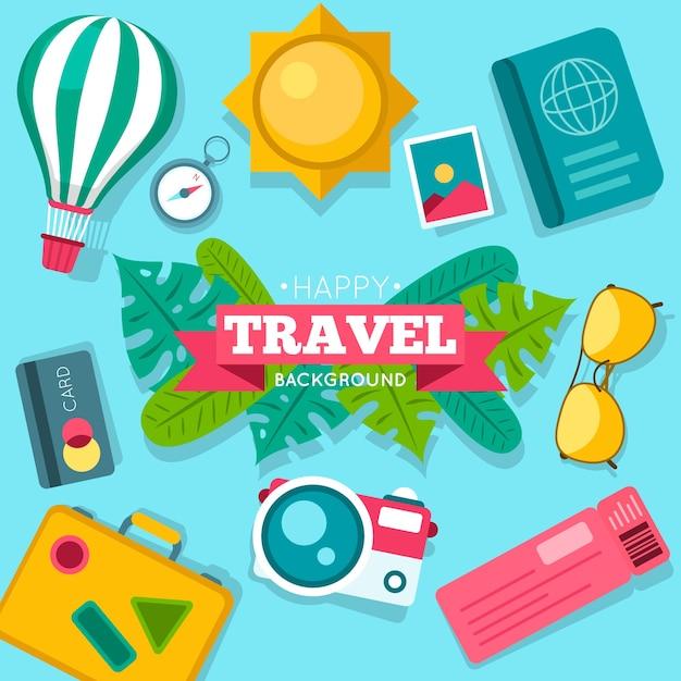 Fundo de elementos coloridos de viagens Vetor grátis