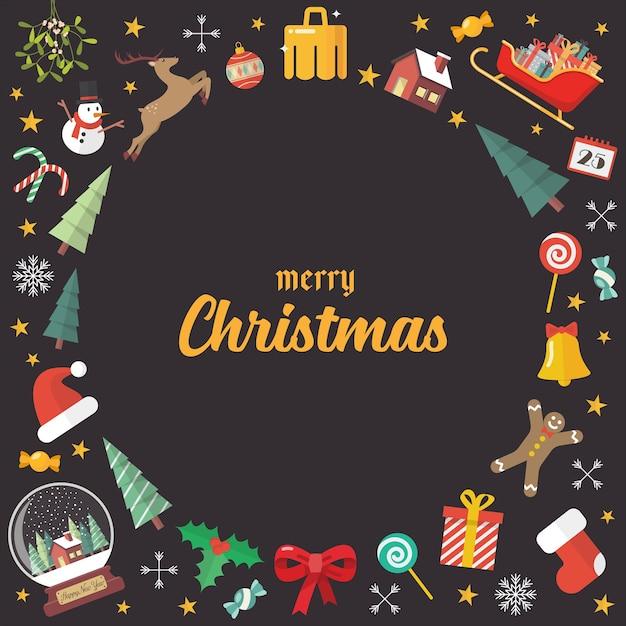 Fundo de elementos de decoração de feliz natal. cartão de felicitações. Vetor Premium
