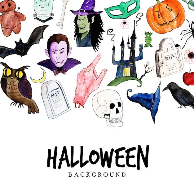 Fundo de elementos de halloween em aquarela Vetor Premium