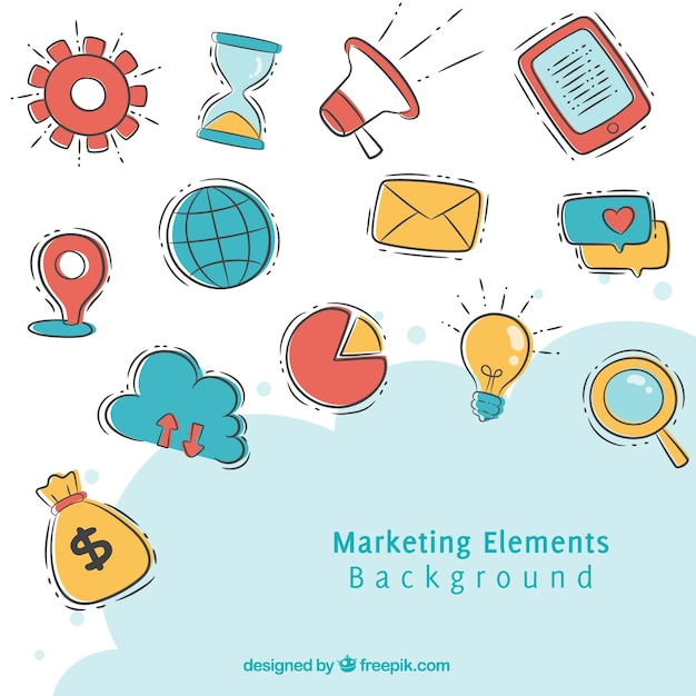 Fundo de elementos de marketing em estilo desenhado a mão Vetor grátis