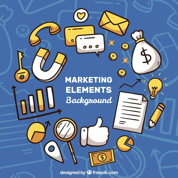 Fundo de elementos de marketing Vetor grátis