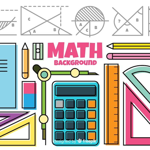Fundo de elementos de matemática dos desenhos animados Vetor grátis