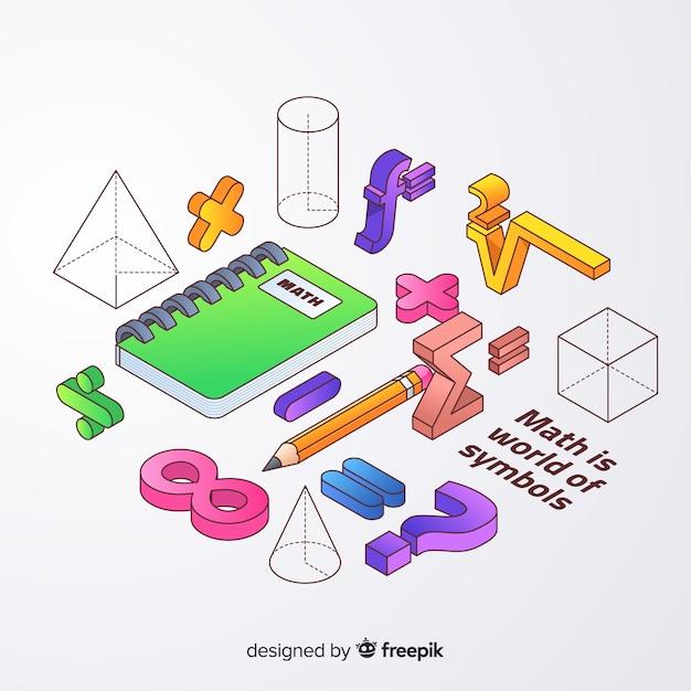 Fundo de elementos de matemática isométrica Vetor grátis