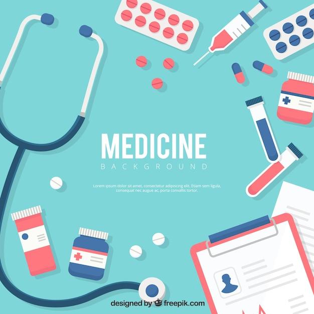 Fundo de elementos de medicina em estilo plano Vetor grátis